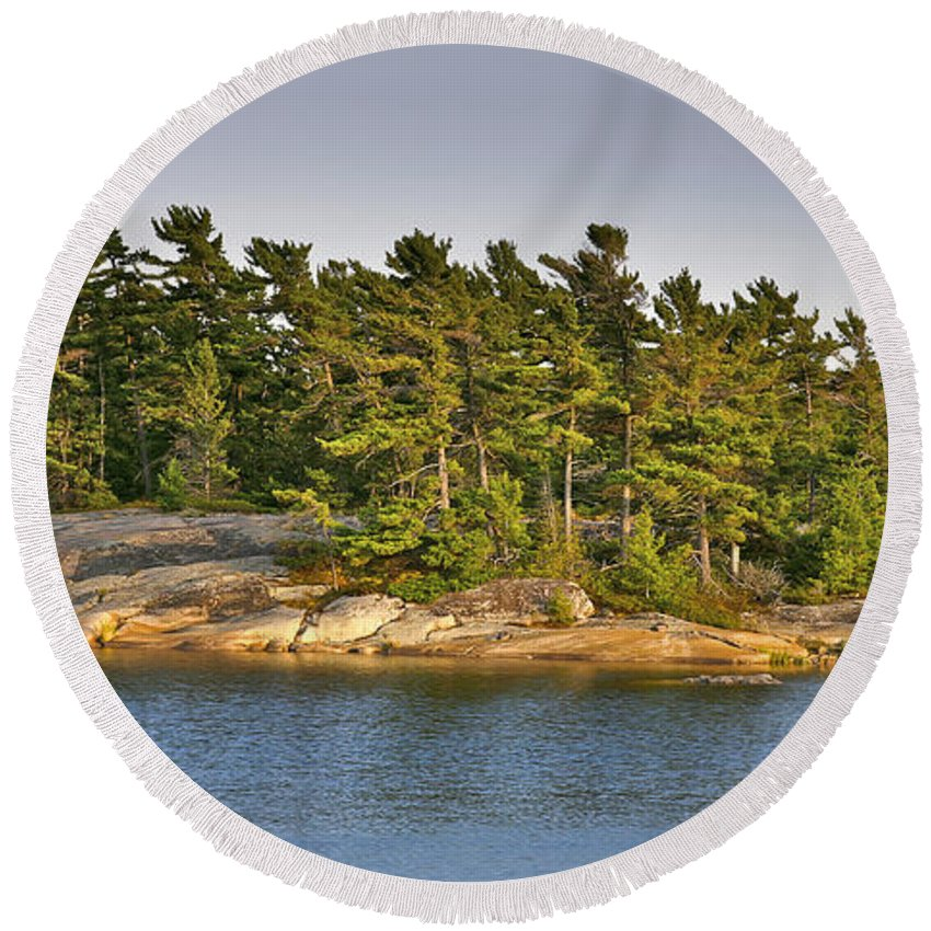 Canada Round Beach Towel featuring the photograph Across The Bay by Phill Doherty