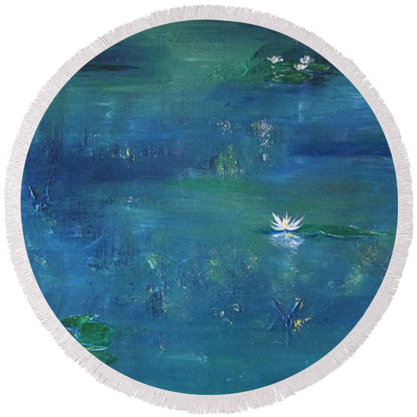 Lily Round Beach Towel featuring the painting Across The Lily Pond by Gary Smith