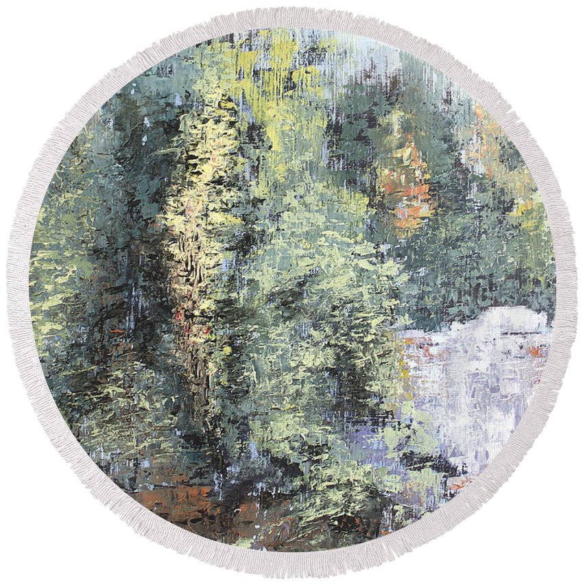 Landscape Round Beach Towel featuring the painting Across The Ravine by Todd A Blanchard