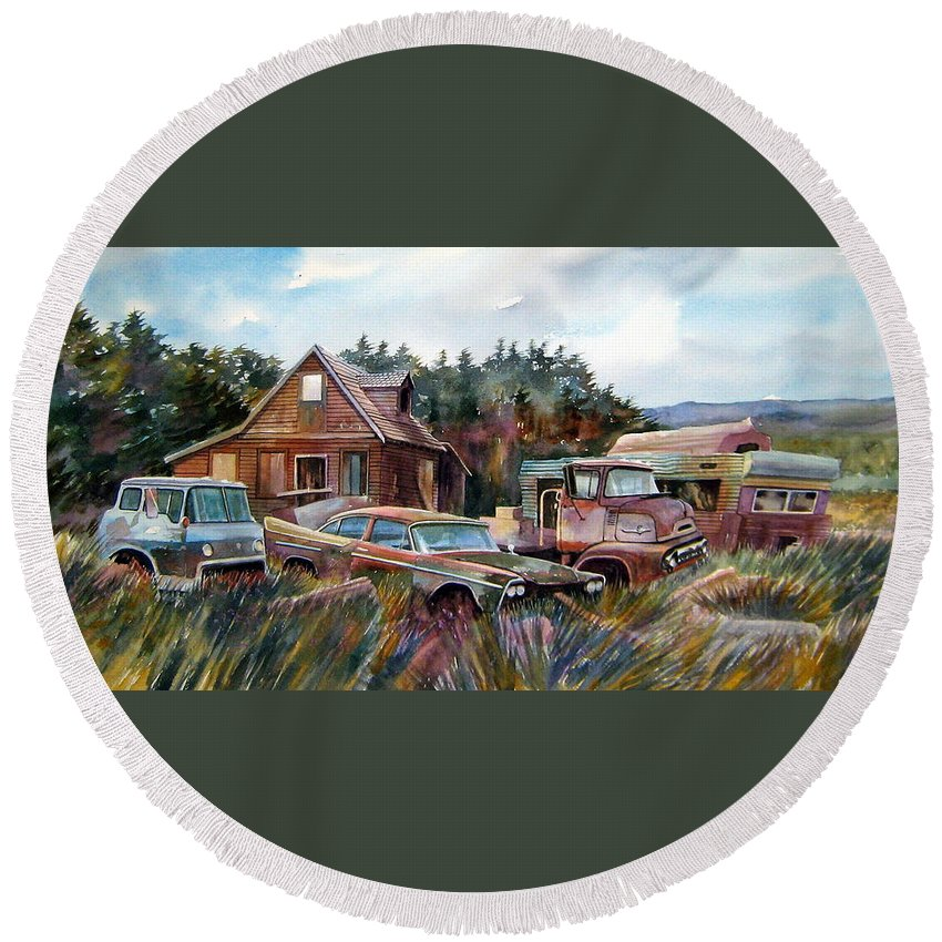 Cars Round Beach Towel featuring the painting Across The Road And Gone by Ron Morrison
