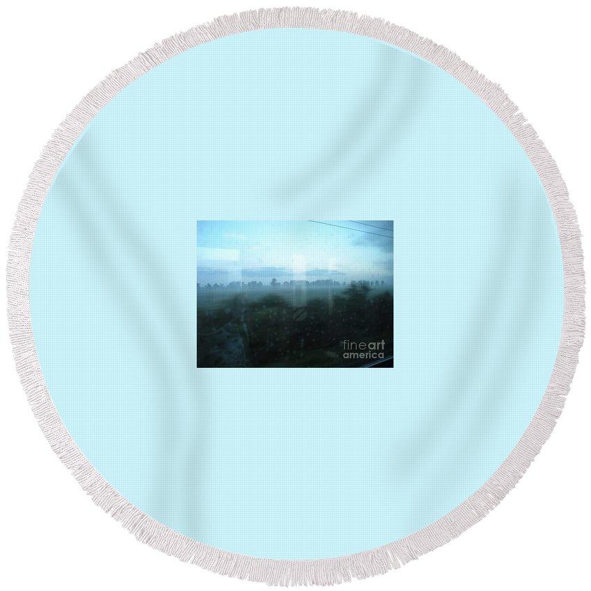 Round Beach Towel featuring the digital art Across This Horizon by Vanessa bush