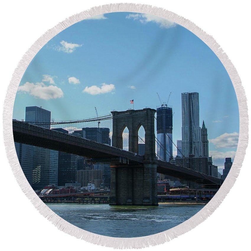 Manhattan Round Beach Towel featuring the photograph Across To Manhattan New York New York by Christal Randolph