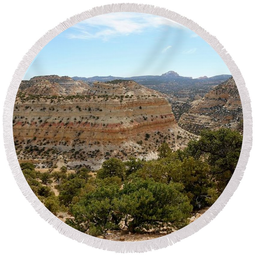 Utah Round Beach Towel featuring the photograph Across Utah by Christy Pooschke