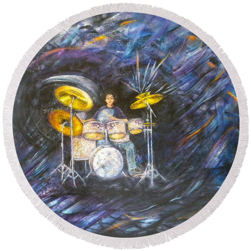 Music Round Beach Towel featuring the painting Action-reaction by Pamela Stroberg