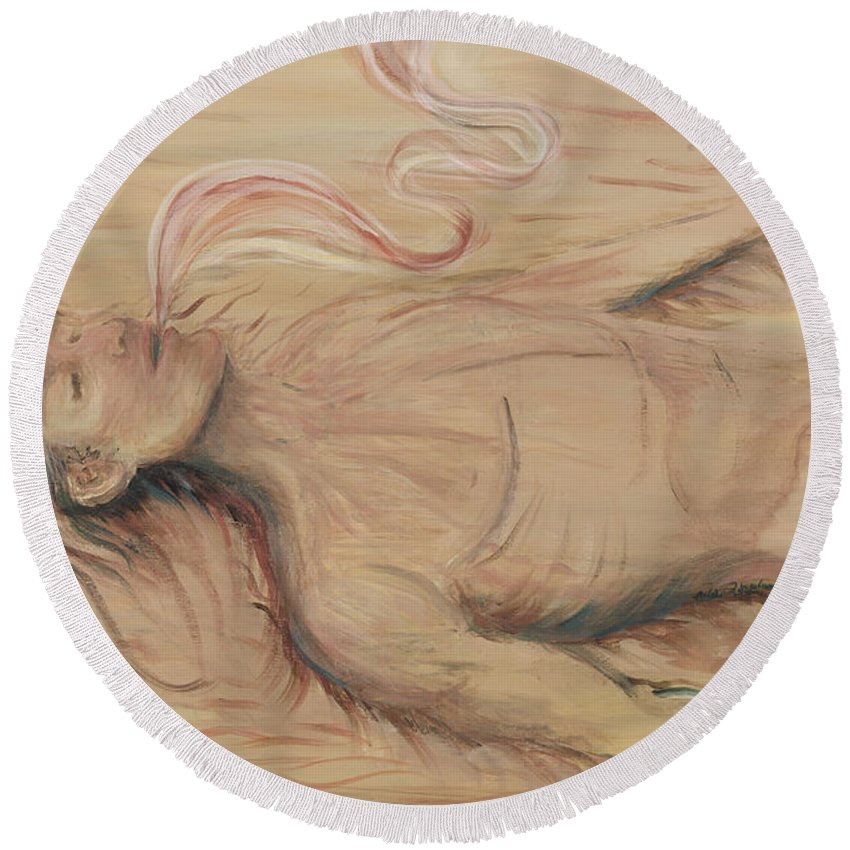 Adam Round Beach Towel featuring the painting Adam and the Breath of God by Nadine Rippelmeyer