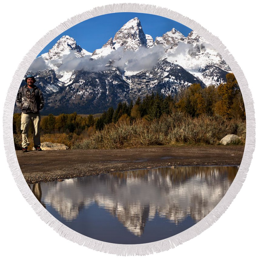 Gtnp Round Beach Towel featuring the photograph Adam Jewell At Schwabacher Landing by Adam Jewell