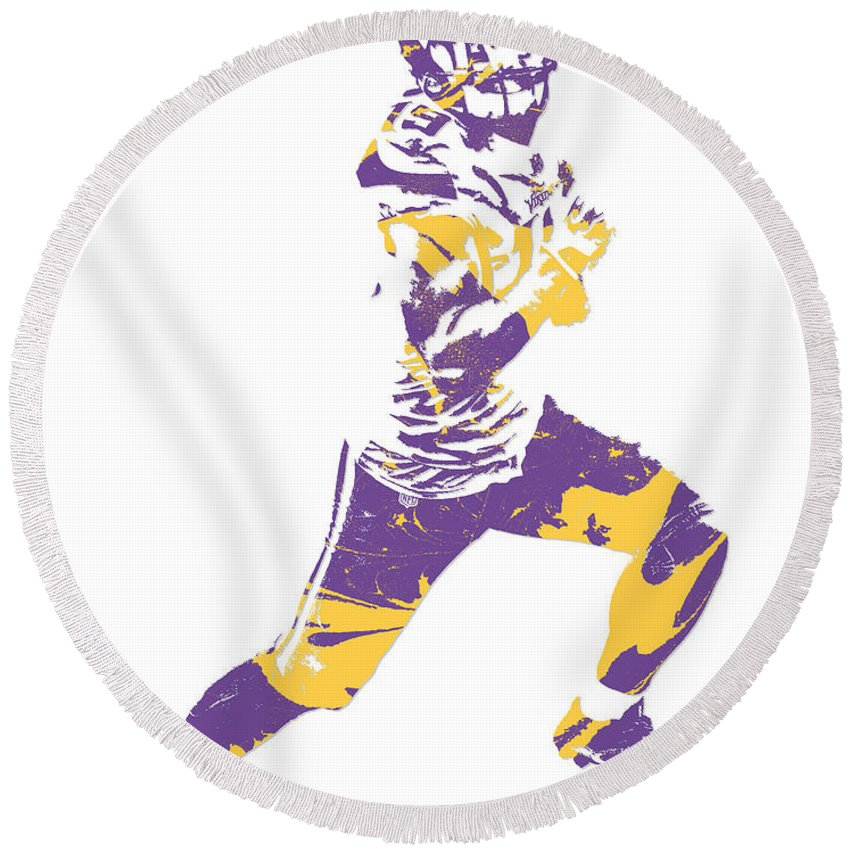 d888e2ae Adam Thielen Minnesota Vikings Pixel Art 3 Round Beach Towel