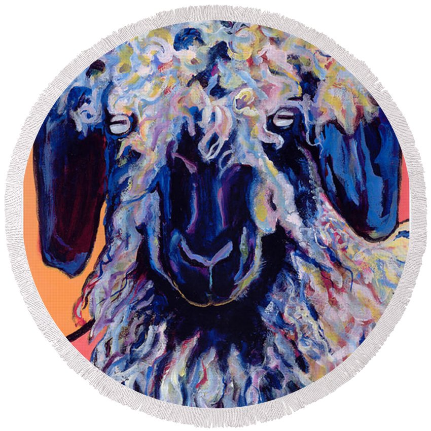 Goat Print Round Beach Towel featuring the painting Adelita  by Pat Saunders-White