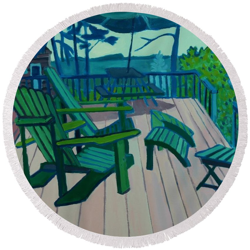 Ocean Round Beach Towel featuring the painting Adirondack Chairs Maine by Debra Bretton Robinson