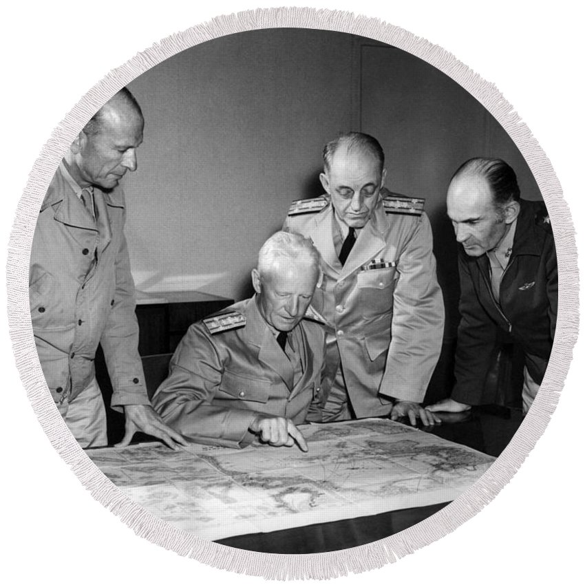 Admiral Nimitz Round Beach Towel featuring the photograph Admiral Nimitz Strategy Session - World War Two - 1942 by War Is Hell Store