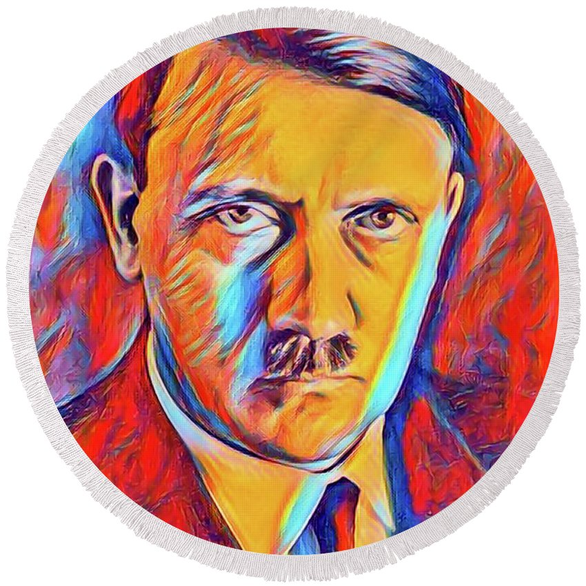 Adolf Round Beach Towel featuring the digital art Adolf Hitler, Leaders Of Wwii Series. by John Springfield