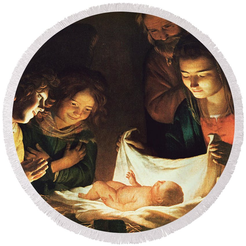 Adoration Of The Baby Round Beach Towel featuring the painting Adoration Of The Baby by Gerrit van Honthorst