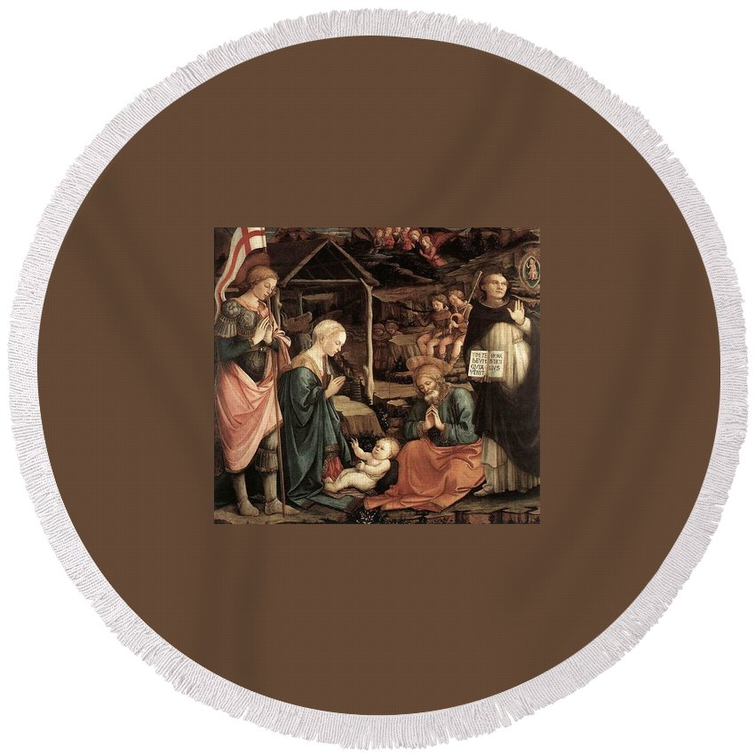 Religion Round Beach Towel featuring the digital art Adoration Of The Child With Saints 1460 65 Fra Filippo Lippi by Eloisa Mannion