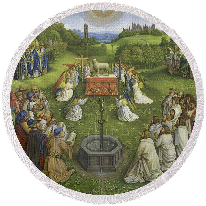 Adoration Of The Mysticlamb Round Beach Towel featuring the painting Adoration Of The Mystic Lamb by Hubert Eyck and Jan van Eyck