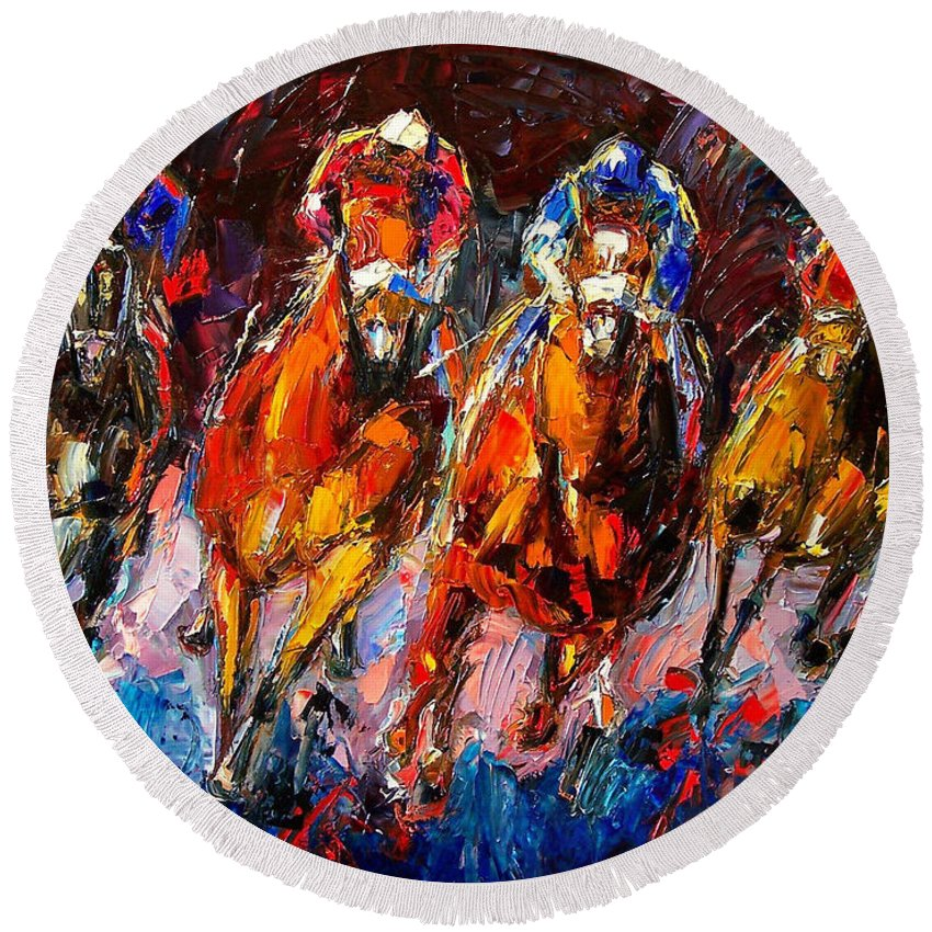 Horse Race Round Beach Towel featuring the painting Adrenaline by Debra Hurd