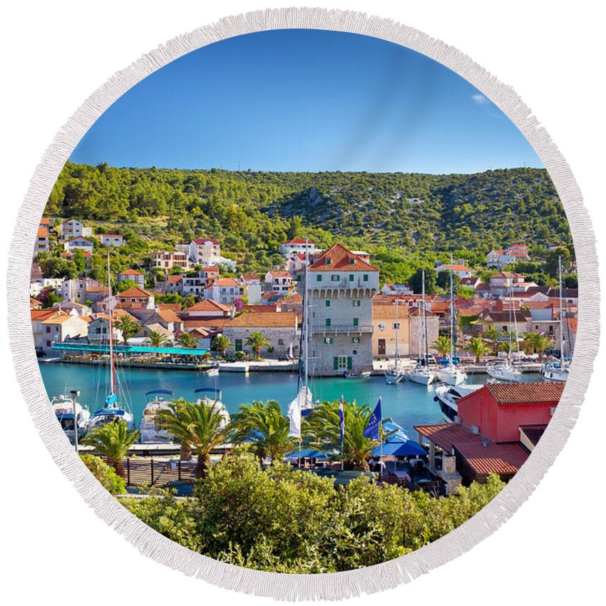 Marina Round Beach Towel featuring the photograph Adriatic Village Of Marina Near Trogir by Brch Photography