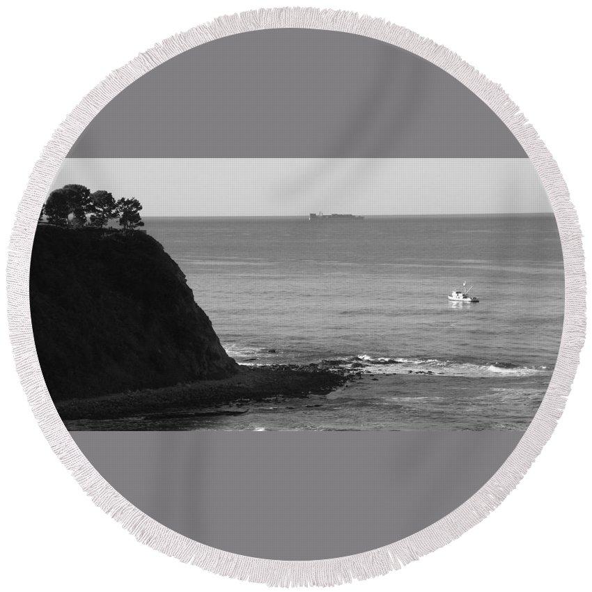 Ocean Round Beach Towel featuring the photograph Adrift by Shari Chavira