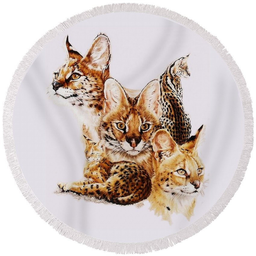 Serval Round Beach Towel featuring the drawing Adroit by Barbara Keith