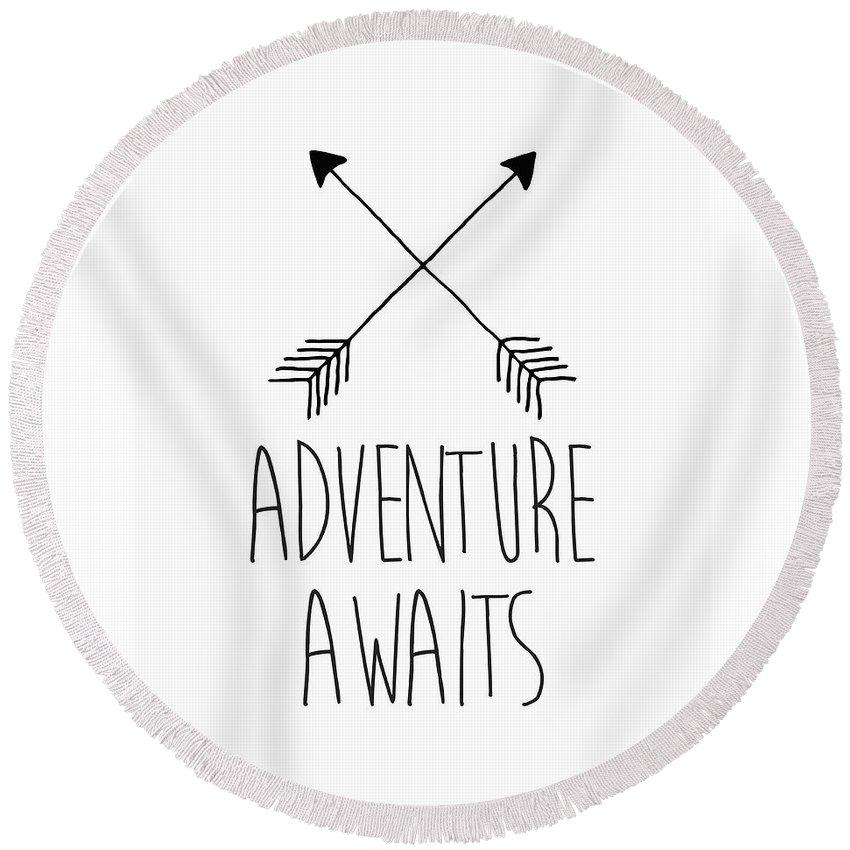 Adventure Awaits Round Beach Towel featuring the digital art Adventure Awaits by Zapista Zapista