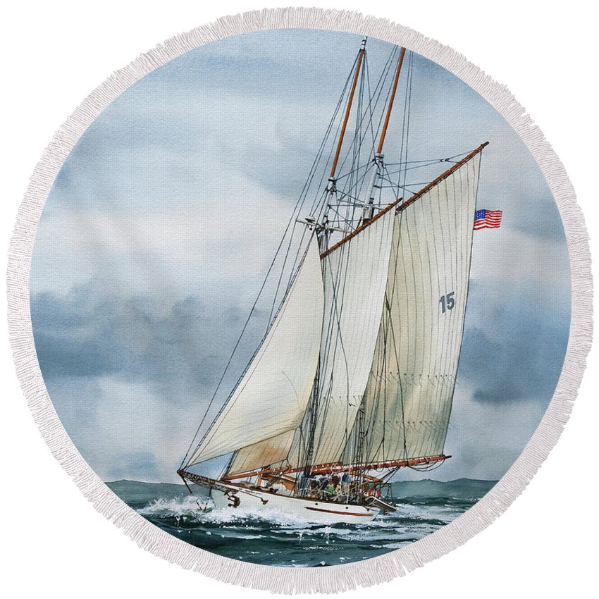 Sailing Vessel Adventuress Round Beach Towel featuring the painting Adventuress by James Williamson