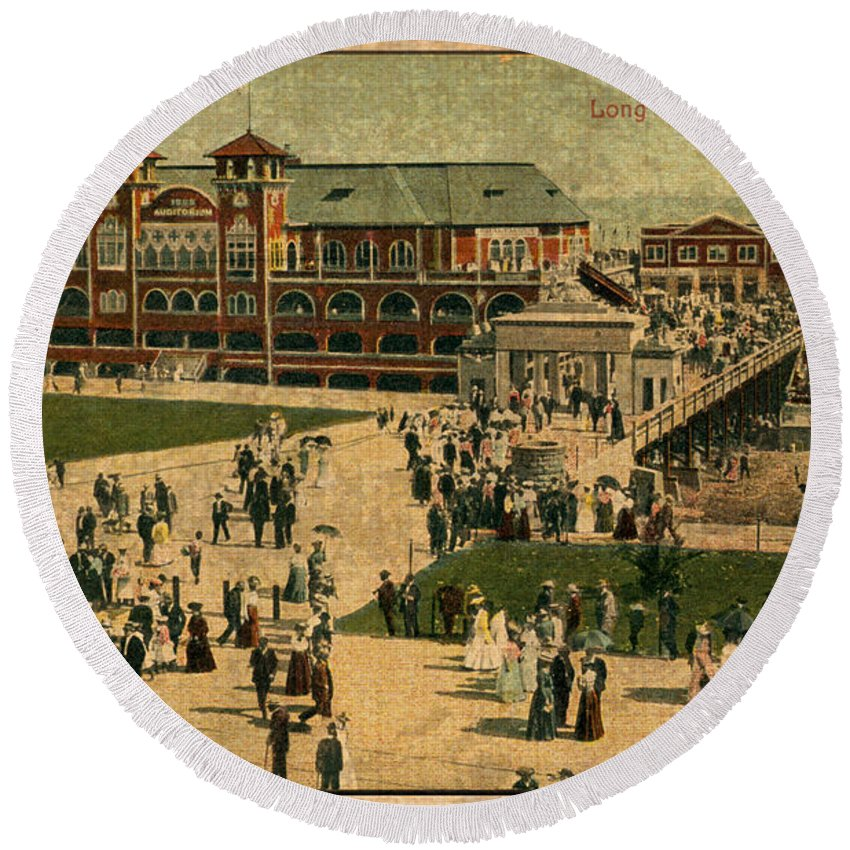 Aerial Round Beach Towel featuring the mixed media Aerial Birds Eye View Of Long Beach Pier And Beachfront California Circa 1895 by Design Turnpike
