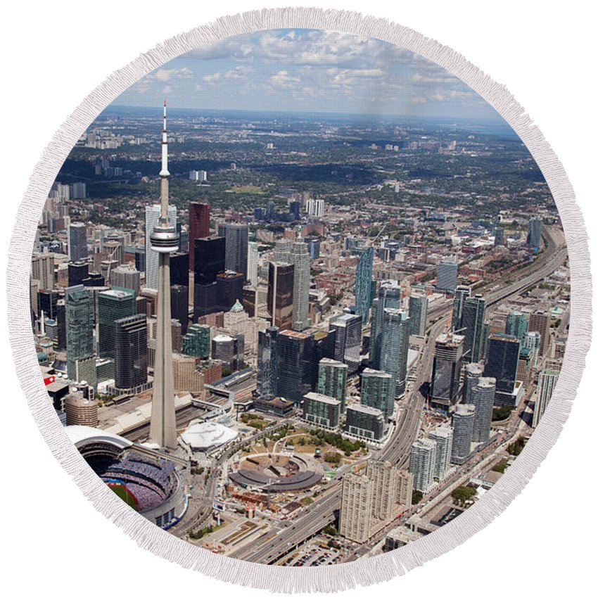 Aerial Round Beach Towel featuring the photograph Aerial Of Downtown Toronto Ontario by Bill Cobb