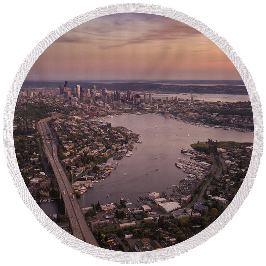 Seattle Round Beach Towel featuring the photograph Aerial Seattle View Along Interstate 5 by Mike Reid