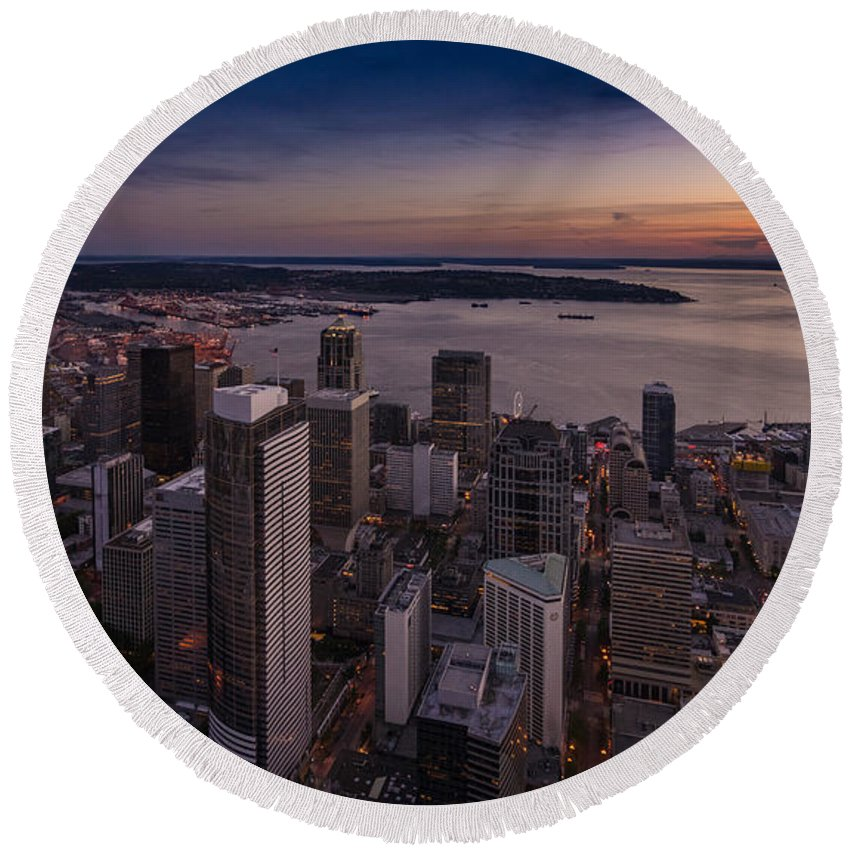 Seattle Round Beach Towel featuring the photograph Aerial Seattle Westward View by Mike Reid