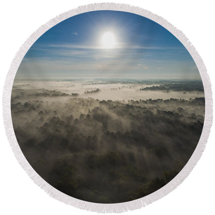 Louisiana Round Beach Towel featuring the photograph Aerial Sunrise Over Fog by Kimberly Blom-Roemer