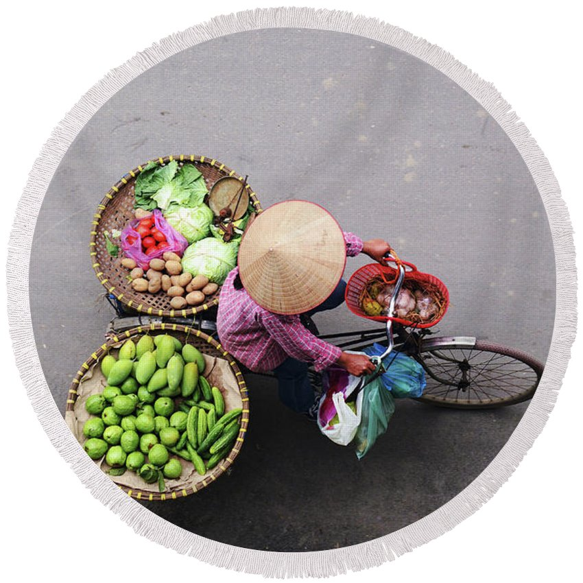 Aerial Round Beach Towel featuring the photograph Aerial View Of A Vietnamese Traditional Seller On The Bicycle With Bags Full Of Vegetables by Srdjan Kirtic