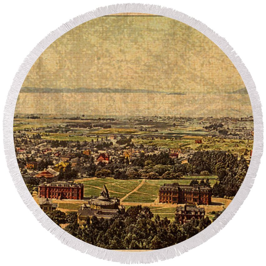 Aerial Round Beach Towel featuring the mixed media Aerial View Of Berkeley California In 1900 On Worn Distressed Canvas by Design Turnpike