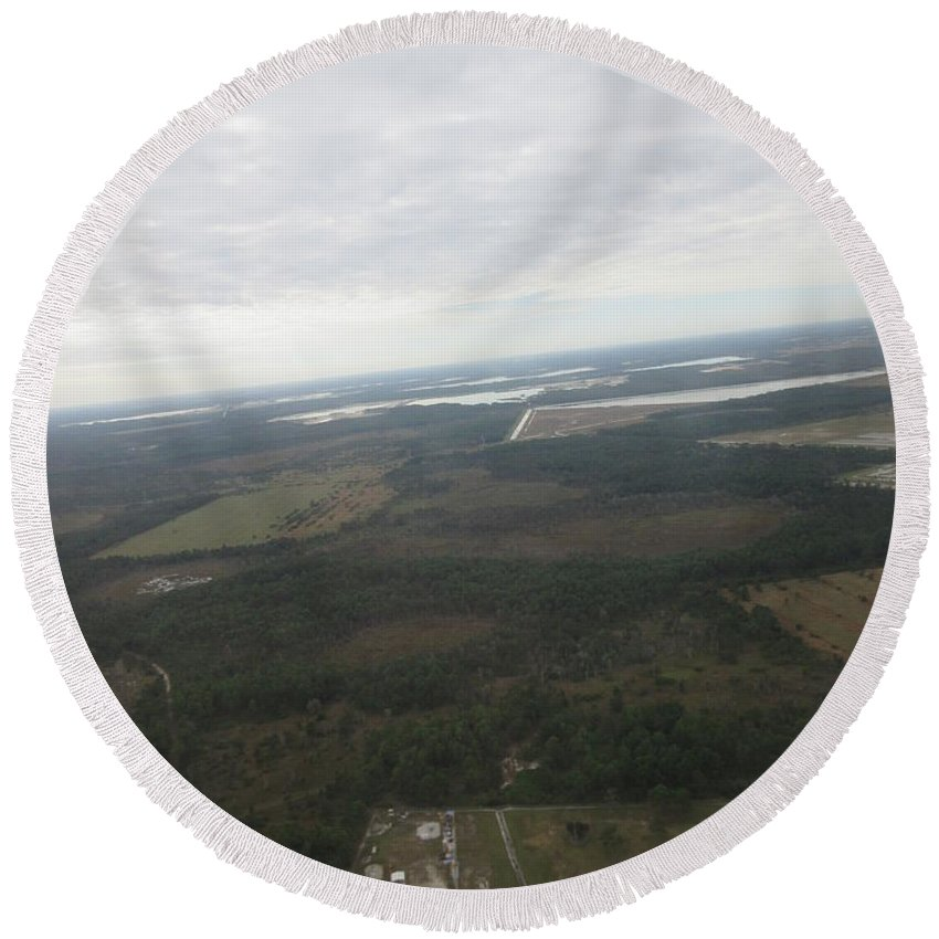 Aerial Round Beach Towel featuring the photograph Aerial View Of Fort Myers. by Frederick Holiday
