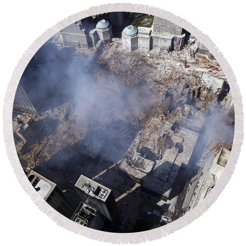 Damage Round Beach Towel featuring the photograph Aerial View Of The Destruction Where by Stocktrek Images