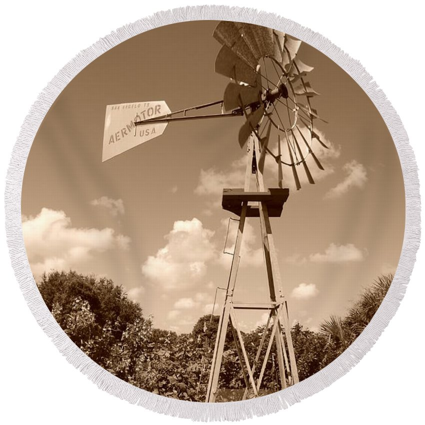 Sepia Round Beach Towel featuring the photograph Aermotor Windmill by Rob Hans