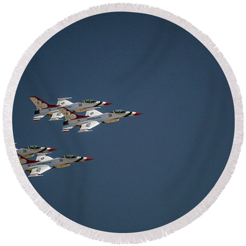 Aerial Round Beach Towel featuring the photograph Aerobatics by Chandra Nyleen