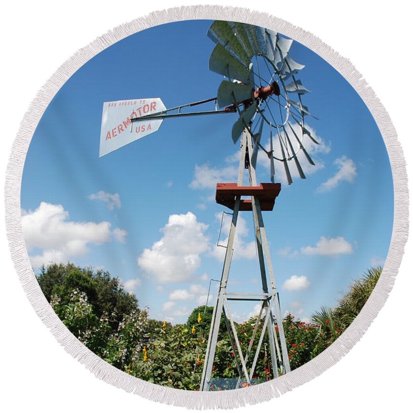 Blue Round Beach Towel featuring the photograph Aeromotor Windmill by Rob Hans