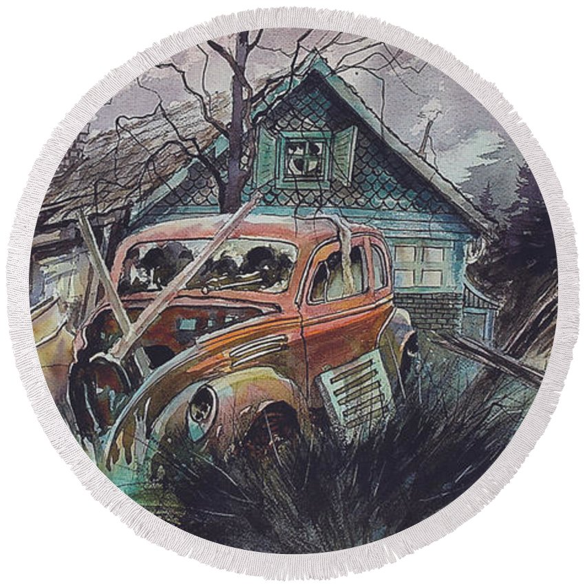 Ford Round Beach Towel featuring the painting Affordable by Ron Morrison