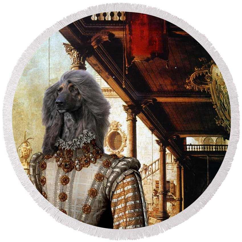 Afghan Hound Canvas Round Beach Towel featuring the painting Afghan Hound-capriccio Of Colonade And The Courtyard Of A Palace Canvas Fine Art Print by Sandra Sij