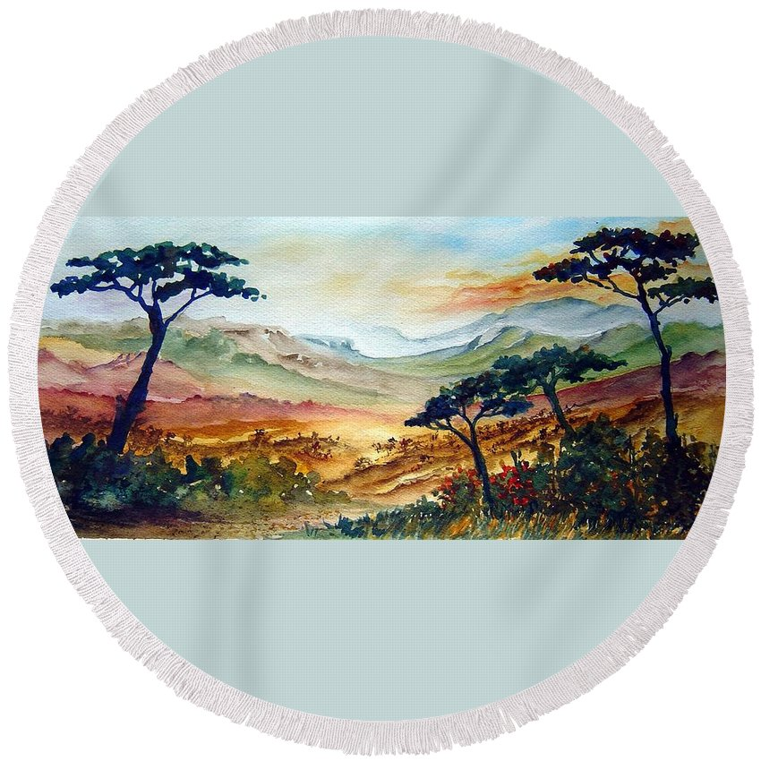 Africa Round Beach Towel featuring the painting Africa by Joanne Smoley