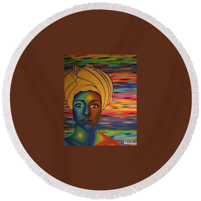 Africa Round Beach Towel featuring the painting Africa by Sabrina Luna