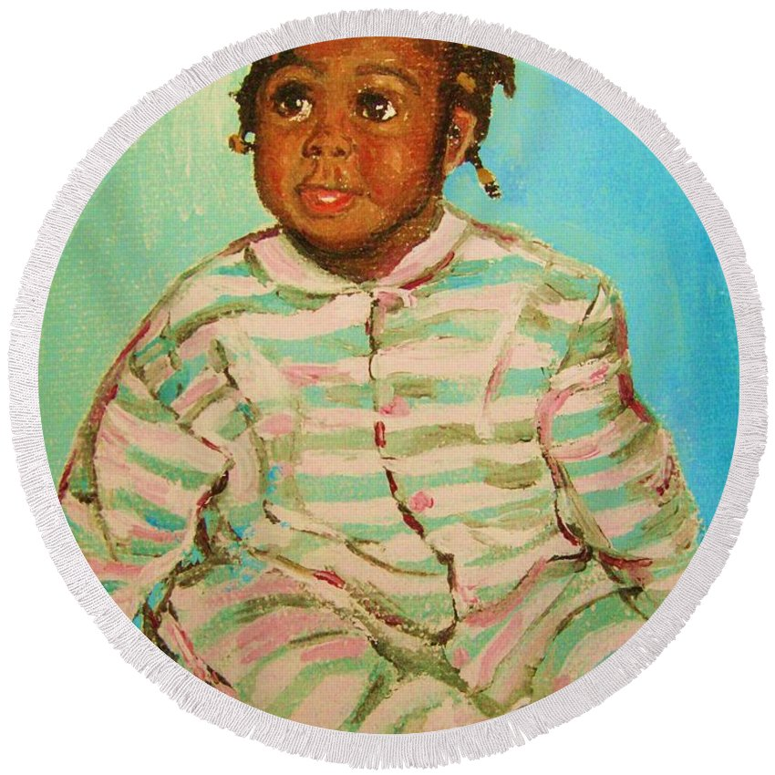 Africa Round Beach Towel featuring the painting African Cutie by Carole Spandau