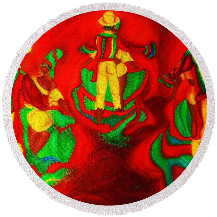 Africa Round Beach Towel featuring the painting African Dancers by Carole Spandau