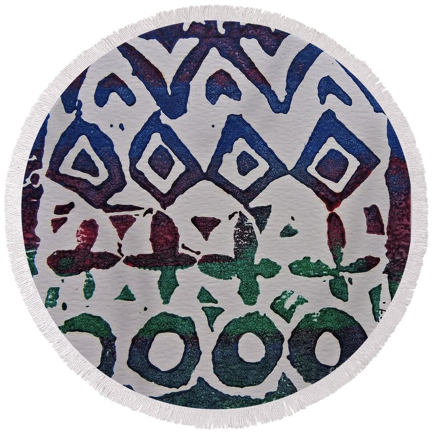 African Design Round Beach Towel featuring the relief African Design by Caroline Street