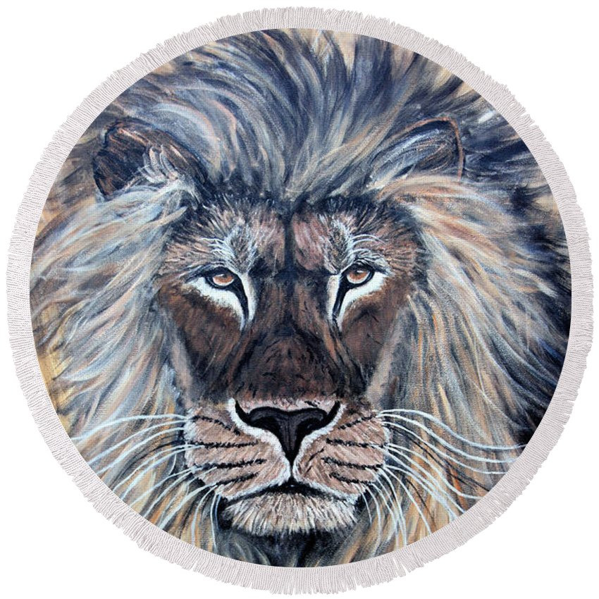 Lion Round Beach Towel featuring the painting African Lion by Nick Gustafson