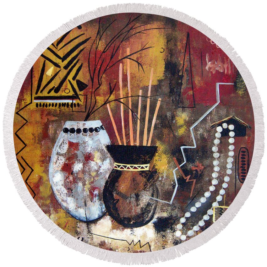 Abstract Round Beach Towel featuring the painting African Perspective by Ruth Palmer