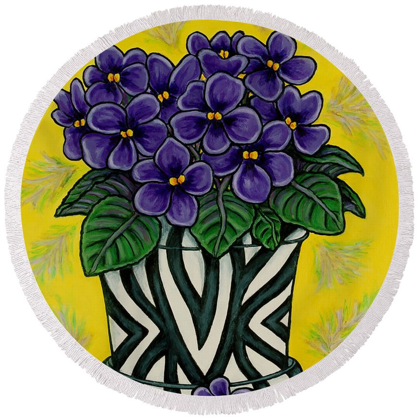 Violets Round Beach Towel featuring the painting African Queen by Lisa Lorenz