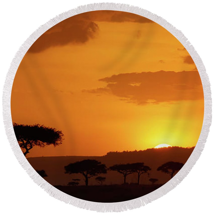 Africa Round Beach Towel featuring the photograph African Sunrise by Sebastian Musial