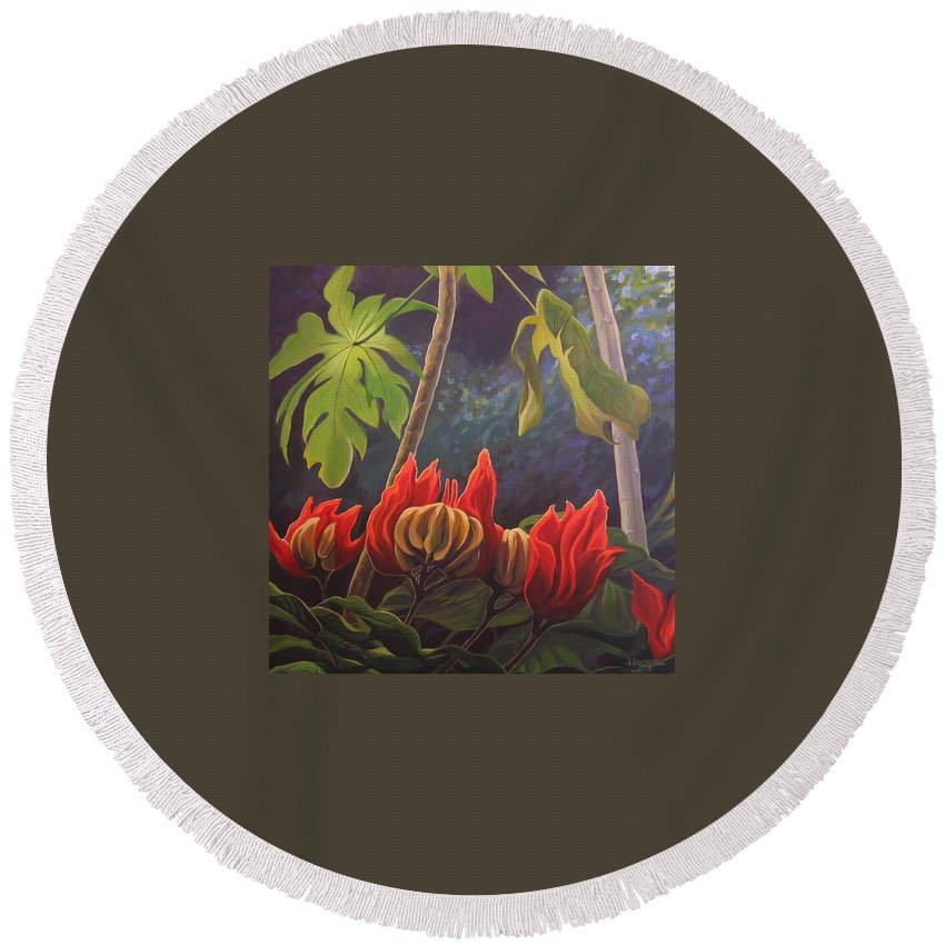 African Tulip Round Beach Towel featuring the painting African Tulip by Hunter Jay