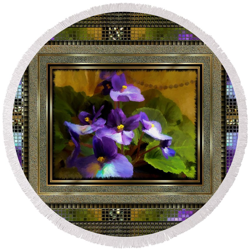African Violet Round Beach Towel featuring the painting African Violet by Susan Kinney