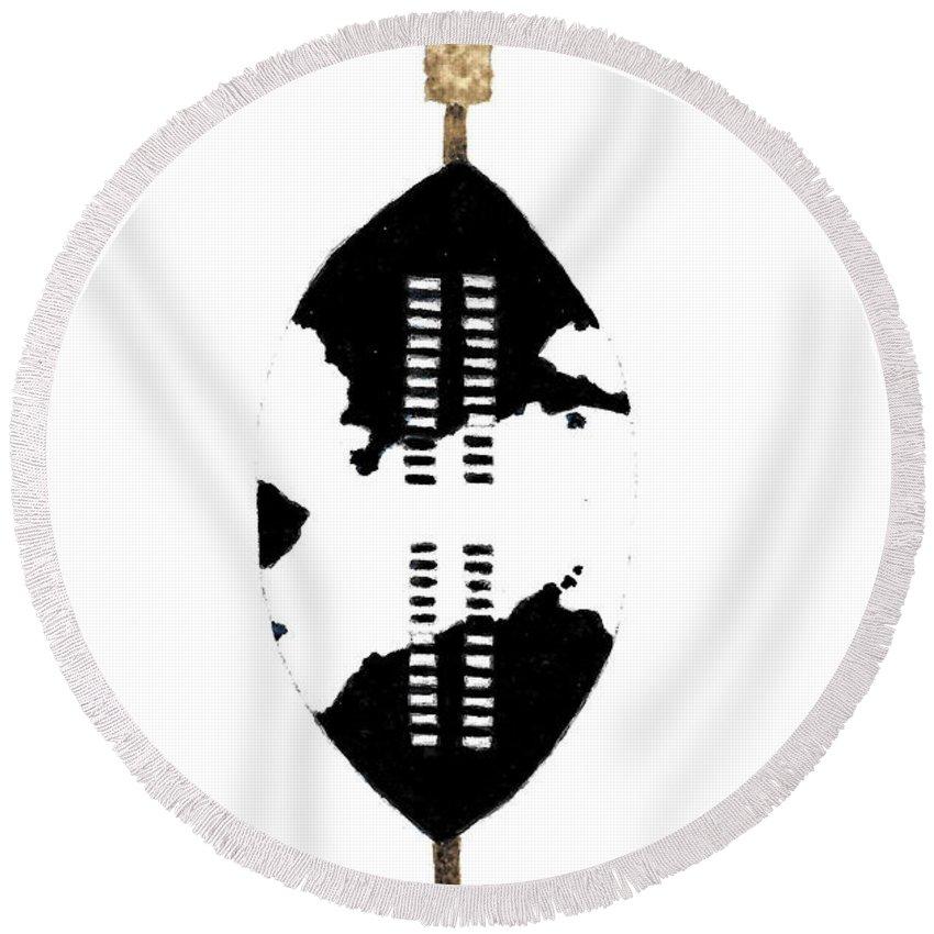 African Zulu Warrior Shield Round Beach Towel For Sale By